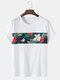 Mens Tropical Floral Print Panel Stitching Cotton Short Sleeve T-Shirts - White