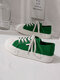 Women Comfy Hard-wearing Casual Preppy Shell Head Wave Pattern Solid Canvas Flats - Green