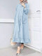 Women Ethnic Solid Color Button Ruffled Hem Pocket Casual Dress - Blue