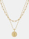 Luxury Layering Paperclip Chain Women Necklace 26 Initials Coin Pendant 14K Gold Plated Necklace Clavicle Chain - I