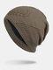 男性冬Plusベルベット刺繡小麦の耳屋外ジャカードロングニット暖かいビーニー帽子 - カーキ
