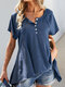 Solid Color O-neck Button Short Sleeve Loose T-Shirt For Women - Blue