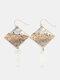 Elegant Rhombus Resin Women Earrings Hit Color Assembled Autumn-Winter Pendant Earrings - Silver