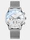 Business Men Watch Luminous Date Display Metal Mesh Belt Quartz Watch - White Dial Silver Band