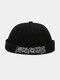 Unisex Cotton Solid Color Letter Embroidery Adjustable Drawstring Versatile Brimless Beanie Landlord Cap Skull Cap - Black