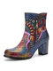 Socofy Bohemian Printed Colorful Leather Patchwork Side Zipper Soft Comfy Chunky Heel Short-Calf Ankle Boots - Blue