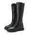 Women  Casual  Round Toe Lace Up Knee High Platform Riding Boots - Black