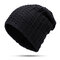Mens Cotton Solid Stripe Thicken Beanie Hats Comfortable Casual Windproof Visor Ourdoor Skiing Hats - Black