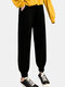 Solid Color Pockets Long Casual Pants for Women - Black