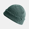 Women & Men roken Knitted Melon Skull Caps Fur Hat Dome Knit Beanie Hat - Green