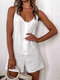 Casual Loose Solid Color Straps Button O-Neck Sleeveless Jumpsuit - White