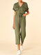 Solid Color Drawstring Button Pocket Short Sleeve Casual Jumpsuit for Women - Army green