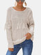 Solid Color Tassel Patchwork Long Sleeve Casual Sweater - Apricot