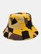 ユニセックス コットン Colorful 幾何学的なカラーブロック ファッション サンシェード バケット ハット - #01