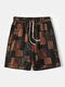 Mens National Style Cotton Breathable Striped Drawstring Home Casual Mid-Long Shorts - Coffee
