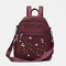 Women Nylon Embroidery Multiple-Carry Backpack - Purple