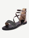 Women Daily Sequined Decor Band Back Zipper Casual Beach Stripe Sandals - Champagne