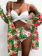 Women Tropical Plants Print High Waisted Bikinis Swimwear With Cover Up - Red