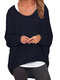 Casual Asymmetrical Solid Color Plus Size Blouse for Women - Navy