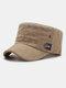 Men Cotton Letter Labeling Outdoor Sunshade Casual Military Cap Flat Cap - Khaki
