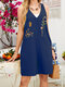 Embroidery Flowers V-neck Sleeveless Buttons Casual Romper - Navy