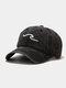 ユニセックス ウォッシュド オールド コットン 無地 3D 刺繍 サンシェード シンプル ベースボール キャップ - 黒
