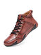 Men Hand Stitching Microfiber Leather Non Slip Soft Casual Ankle Boots - Red Brown