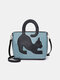 Women Cat Pattern Handbag Crossbody Bag - Blue
