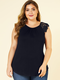 Lace Patchwork Sleeveless O-neck Plus Size Blouse for Women - Black