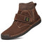 Men Synthetic Suede Splicing Hand Stitching Non Slip Casual Ankle Boots - Brown