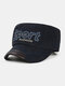 Men Cotton Letter Embroidery Outdoor Sunshade Casual Military Cap Flat Cap - Blue