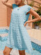 Swiss Dot Solid Color O-neck Short Sleeve Casual Dress - Blue
