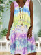 Ethnic Tie-dyed Print Sleeveless Loose V-neck Dress For Women - Yellow