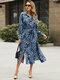 Leopard Print Lapel Long Sleeve Plus Size Dress with Belt - Blue