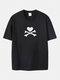 Plus Size Heart X Bone Print Fashion Short Sleeve T-Shirts - Black