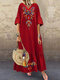 Vintage Embroidery V-neck Plus Size Dress - Red