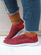 Plus Size Knitted Wine Red Elastic Band Printed Sneakers For Women - Wine Red
