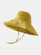 Women Cotton And Linen Solid Color Big Brim Sun Protection Bucket Hat - Yellow 1#