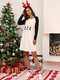 Women Christmas Contrast Color Raglan Sleeve Casual Home Lounge Nightgown - Black
