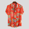 Mens Summer Ethnic Printed Stand Collar Short Sleeve Loose Casual Shirts - Red