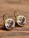 Vintage Glass Gem Dangle Women Earrings Animal Insect Cats Birds Pattern Earrings - #15