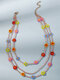 Bohemian Hand-woven Beaded Colorful Flowers-shaped Multi-layer Beads Necklace - Colorful