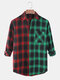 Mens Check Contrast Color Patchwork Casual Long Sleeve Shirts With Pocket - Red