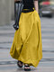 Casual Solid Color Loose Elastic Waist Plus Size Skirt - Yellow