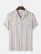 Mens Stripe Double Flap Pocket Revere Collar Casual Business Short Sleeve Shirts - White