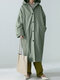 Solid Color Button Pocket Long Sleeve Casual Hooded Coat for Women - Green