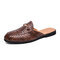 Men Casual Snake Veins Round Toe Light Weight Backless Loafers - Brown