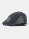 Men Cotton Letter Embroidery Mesh Breathable Adjustable Flat Hat Beret Hat Forward Hat - Gray