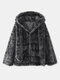 Solid Color Knotted Long Sleeve Faux Fur Hooded Coat For Women - Dark Gray