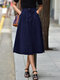 Casual High Waist Solid Color Plus Size Denim Skirt with Pockets - Blue